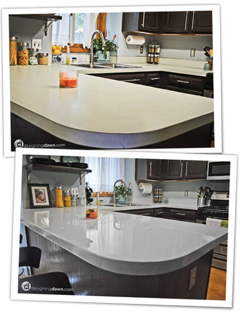 how can i update my plain white formica cabinets plz help remodelaholic glossy painted kitchen counter top tutorial