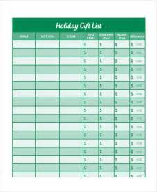 gift list template gift list templates 9 free word pdf format