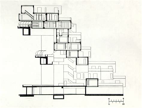 section drawing architecture habitat 67 planning and architectural drawings