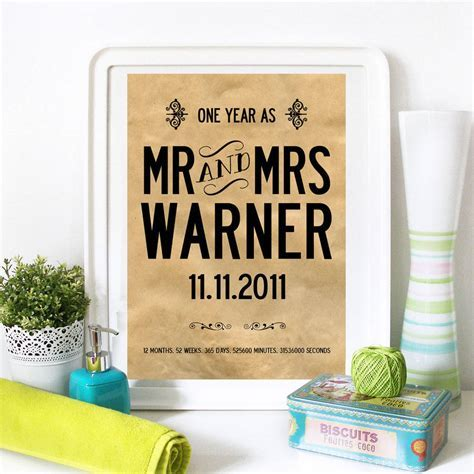 personalised 1st wedding anniversary print by i love art