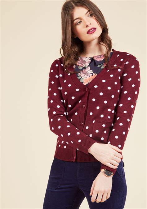 Sweater Uber With Back Print collect your spots cardigan mod retro vintage sweaters modcloth