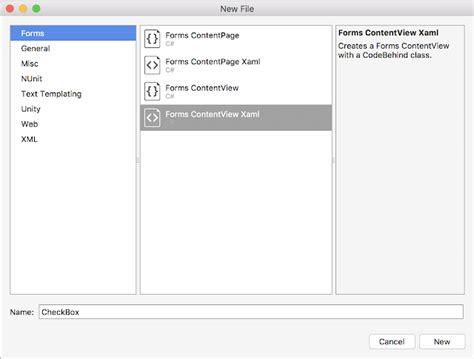xamarin xlabs tutorial step 2 add ui to checkbox