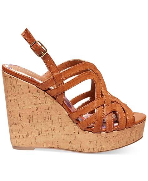 orange cork wedge sandals madden eliite cork platform wedge sandals in orange