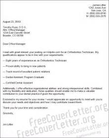 Orthodontic Technician Cover Letter by Orthodontics Technician Cover Letter Sle