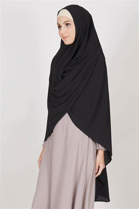 Khimar Asimetris sell gaia khimar black khimar hijabenka