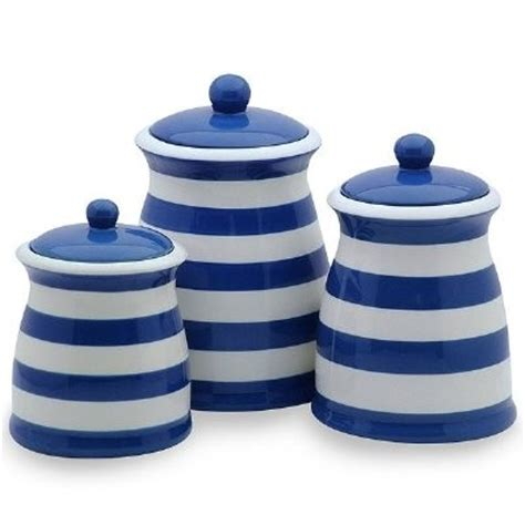 royal blue white striped ceramic kitchen canister set