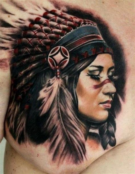 tattoo chest indian native american girl tattoo on chest by moni marino