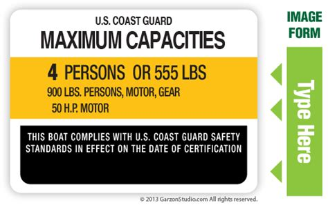 caravelle boat group llc maximum capacities plate decal 4x3 type d white