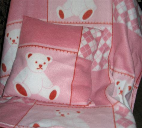 Baby Crib Blanket Size Crib Size Fleece Blanket With Pillow Pink White By Craftsbyellie