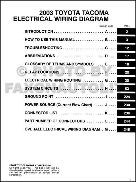 2003 toyota tacoma wiring diagram manual original