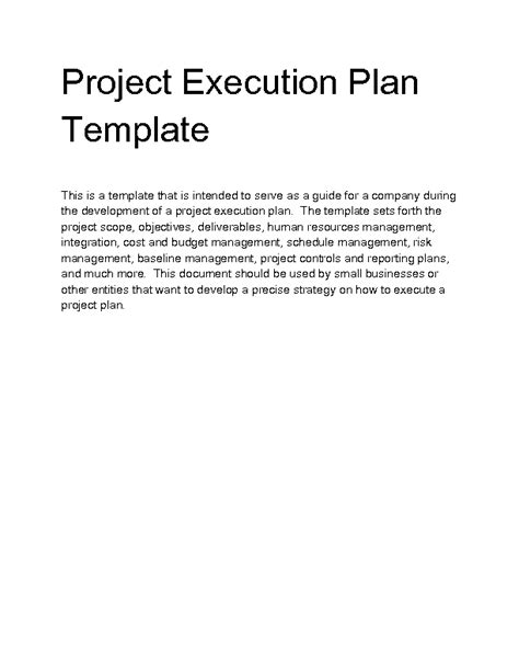 Welcome To Docs 4 Sale Project Execution Plan Template