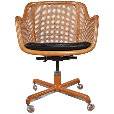 Mid Century Modern Cane Swivel Desk Chair By Ward Bennett Desk Swivel Chairs