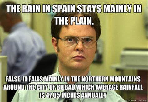 Plain Memes - the rain in spain stays mainly in the plain false it