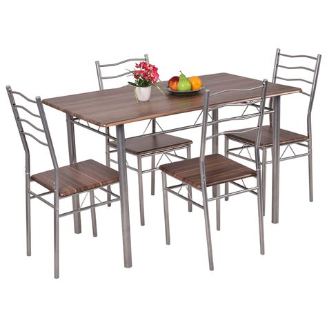 Wood Kitchen Table And Chairs 5 Dining Set Wood Metal Table And 4 Chairs Kitchen Modern Furniture Us Ebay