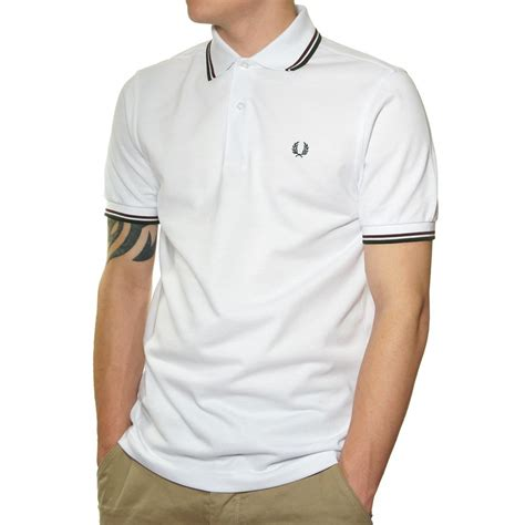 Polo Shirt Fred Perry buy fred perry tipped polo shirt in white jonbarrie
