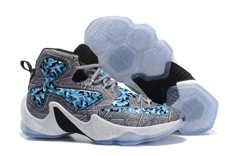nike blue and white basketball shoes nike lebron 13 camo grey blue white basketball shoes