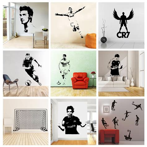 soccer home decor soccer football and famous soccer players wall stickers