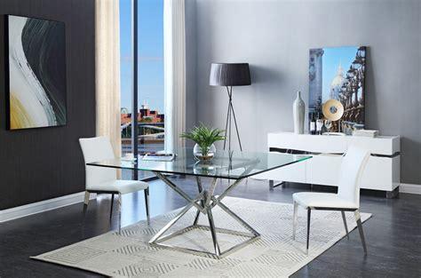 modrest xander modern square glass dining table