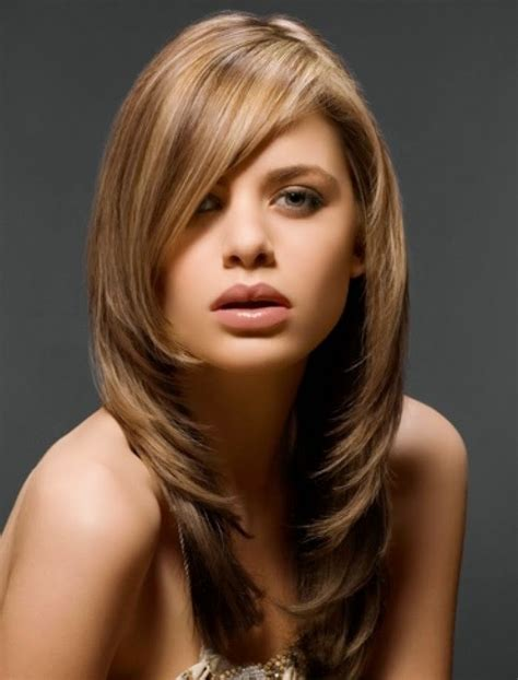 hairstyles feathered layers angled feathered layered hairstyles with side bangs