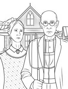 american gothic by grant wood painting coloring page art