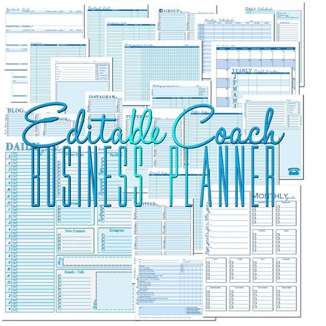 printable home business planner edit able coach business planner to insanity back