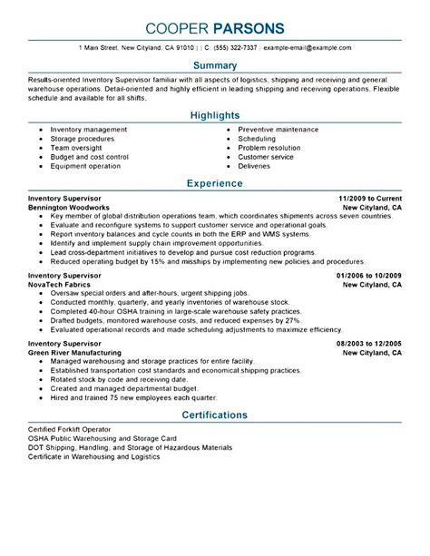 supervisor resume templates construction supervisor resume sle free sles