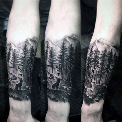 pinterest tattoo forest mens landscape forest inner forearm tattoo designs