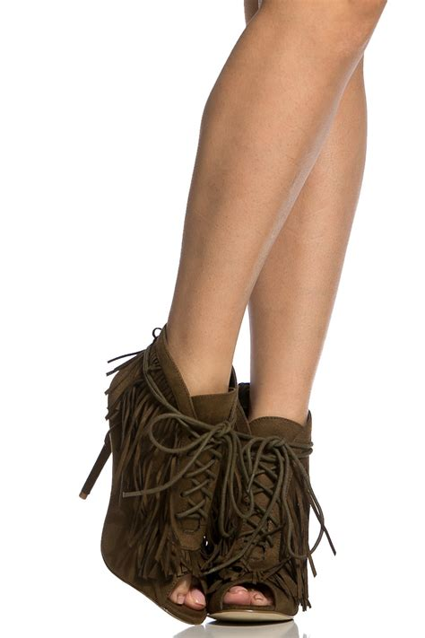 Olive Shoes olive faux suede fringe lace up peep toe booties cicihot