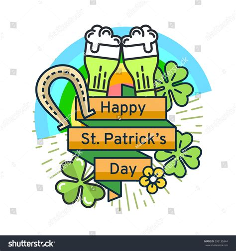 st card template st patricks day flat line greeting stock vector 595135844