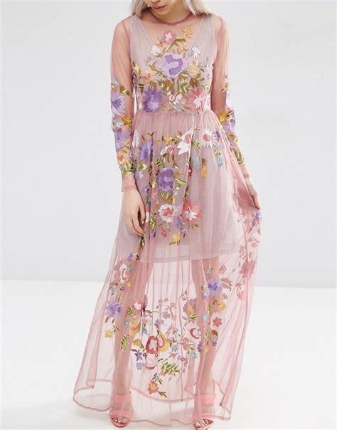 ASOS   ASOS Pretty Embroidered Mesh Maxi Dress with Metallic Cami at ASOS
