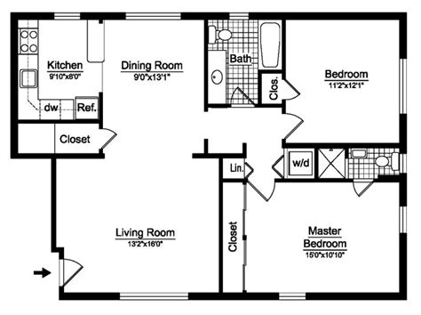 2 bedroom home floor plans 2 bedroom one level house plans house plans home designs