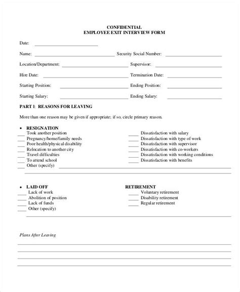 employee exit form template exit form 9 free pdf word documents