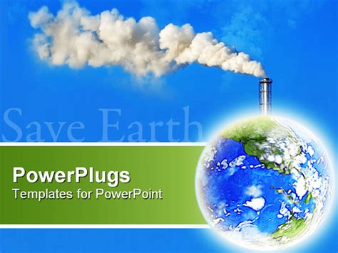 air powerpoint template earth with white factory smoke on blue background