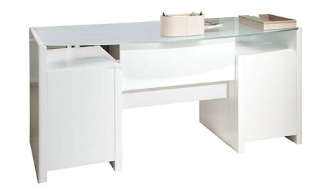 New York Skyline Plumeria White 63 Quot Glass Double Pedestal White Pedestal Desk