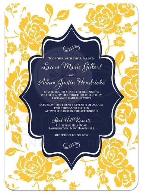 wedding invitation yellow motif monogrammed wedding invitation navy yellow white
