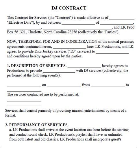 dj service contract template dj contract 11 documents in pdf