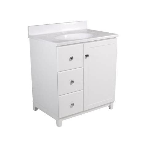 design house vanity top design house shorewood 30 in w x 21 in d 1 dr 2 dwr vanity in white with cultured marble top
