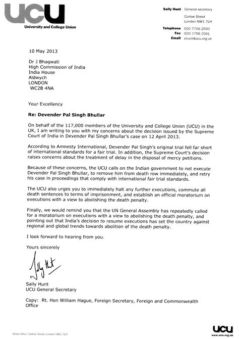 University and College Union (UCU) letter to Indian High