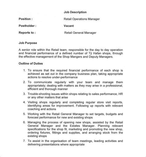 11 General Manager Job Description Templates Free Sle Exle Format Download Free Manager Description Template