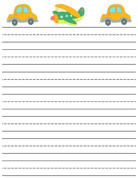 lined paper for writing practice printable writting paper lined cars and plane writing