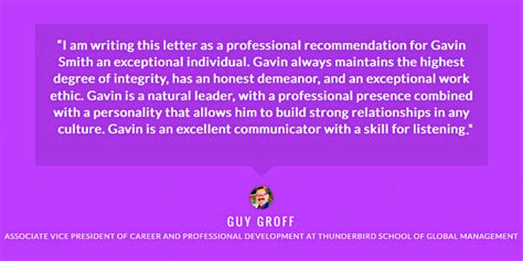 Gmu Mba Review by References And Testimonials Gavin P Smith