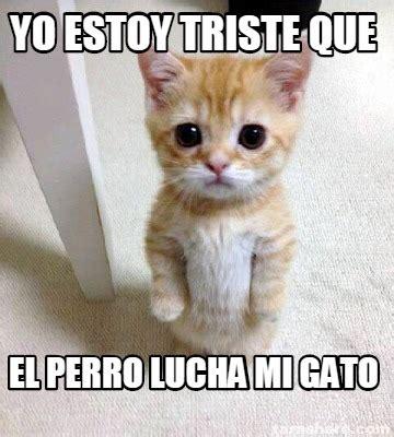 Gato Meme - meme creator yo estoy triste que el perro lucha mi gato