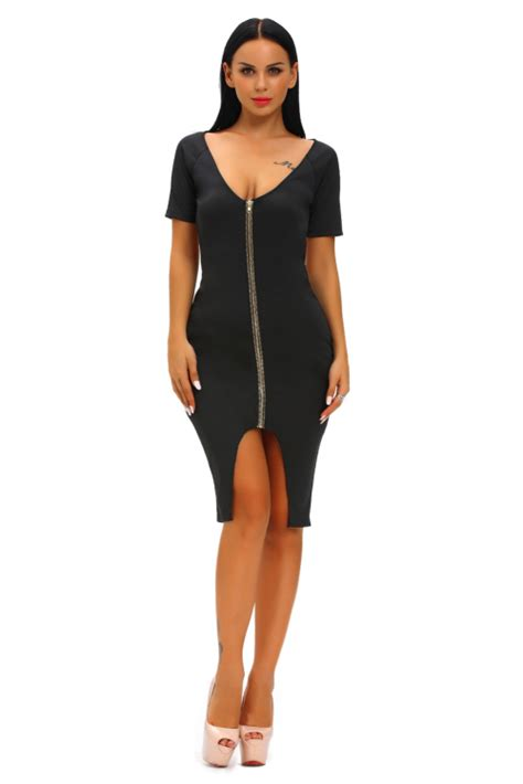 20808 Back Zipper Dress formal dresses black gold zipper daring back midi dress s m l was listed for r309 00 on