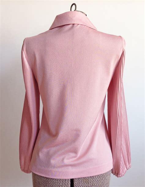 Pleated Blouse Pink vintage pink blouse pleated pan collar vintage logic