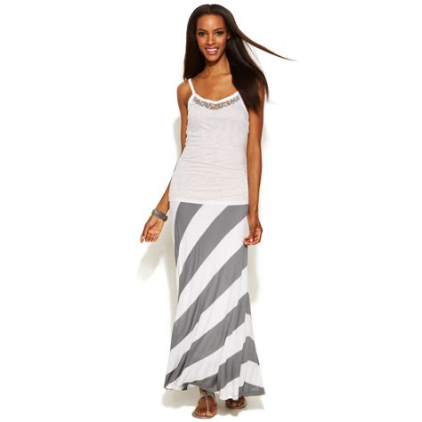 inc international concepts striped maxi skirt in gray