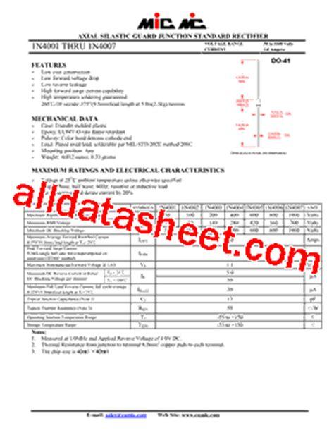 1n4004 siliciumdiode datasheet 1n4004 datasheet pdf mic rectifiers