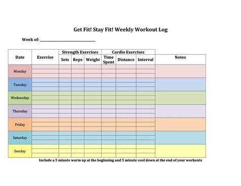 weekly fitness plan template fitness plan template weekly selena jongomez co