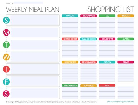 editable menu planner template free editable menu plan and grocery list
