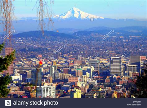 go section 8 portland oregon downtown portland oregon skyline and mout hood stock photo