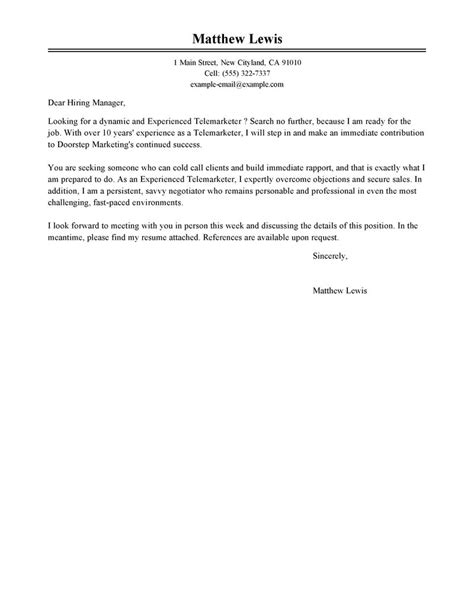 Leading Professional Experienced Telemarketer Cover Letter